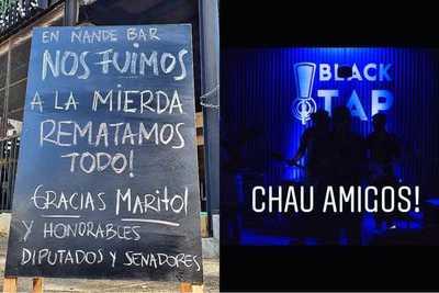 """""""Nos fuimos a la mierda"""", bares anuncian cierre definitivo culpando al """"improvisado gobierno"""" de Abdo"""