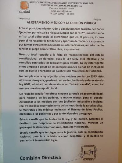 Médicos del Hospital de Itauguá van a asamblea para oficializar huelga
