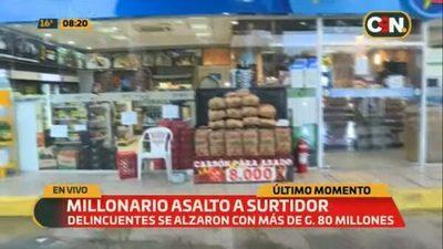 Delincuentes se llevan G. 80 millones de surtidor en Ypané