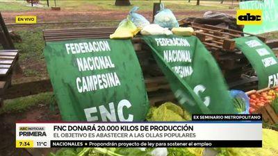 Federación Nacional Campesina dona alimentos para ollas populares