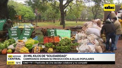 Campesinos donan su producción a ollas populares