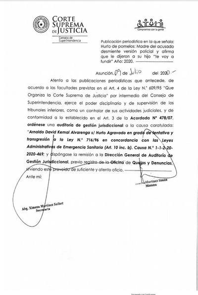 """Caso """"ladrón de pomelos"""": La Corte ordenó una auditoría del expediente"""