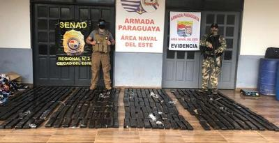 Incautan 308 kilos de droga en zona ribereña del Alto Paraná