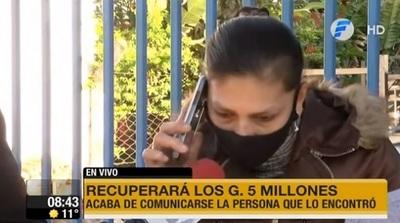 Mujer recupera G. 5 millones durante informativo de TV