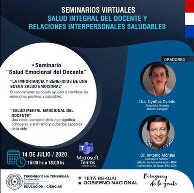 """""""Salud Emocional del Docente"""", tema de seminario virtual de hoy"""