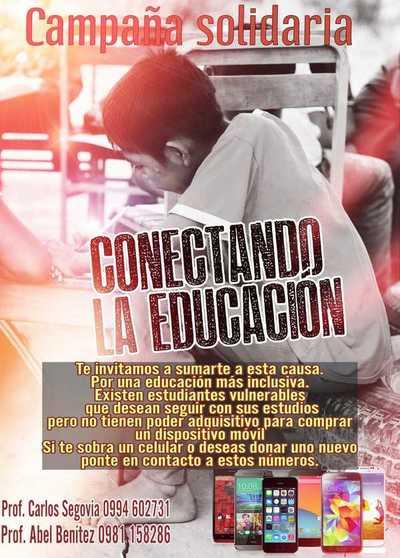 Lanzan campaña solidaria para recolectar celulares y salvar el año escolar