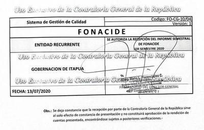 GOBERNACIÓN DE ITAPÚA PRESENTA EN TIEMPO Y FORMA RENDICIÓN DE FONACIDE