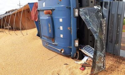 Camión cargado con maíz vuelca en Santa Rita