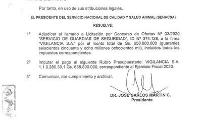 Denuncian que firma de seguridad privada adjudicada por Senacsa no cumple con sus guardias